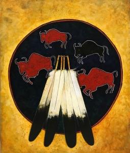 Buffalo War Shield - Red Bison
