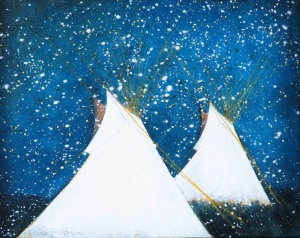 Crow Teepees in the Snow