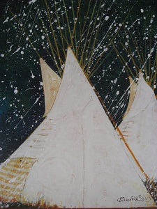 Crow Tipis In Early Snow