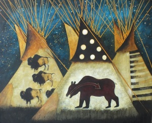 Night Camp in Bear & Buffalo Tipis