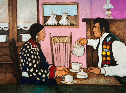 """Tea Party"" by Kevin Red Star 1986 - oil on canvas - collection of Diane and Sam Stewart"
